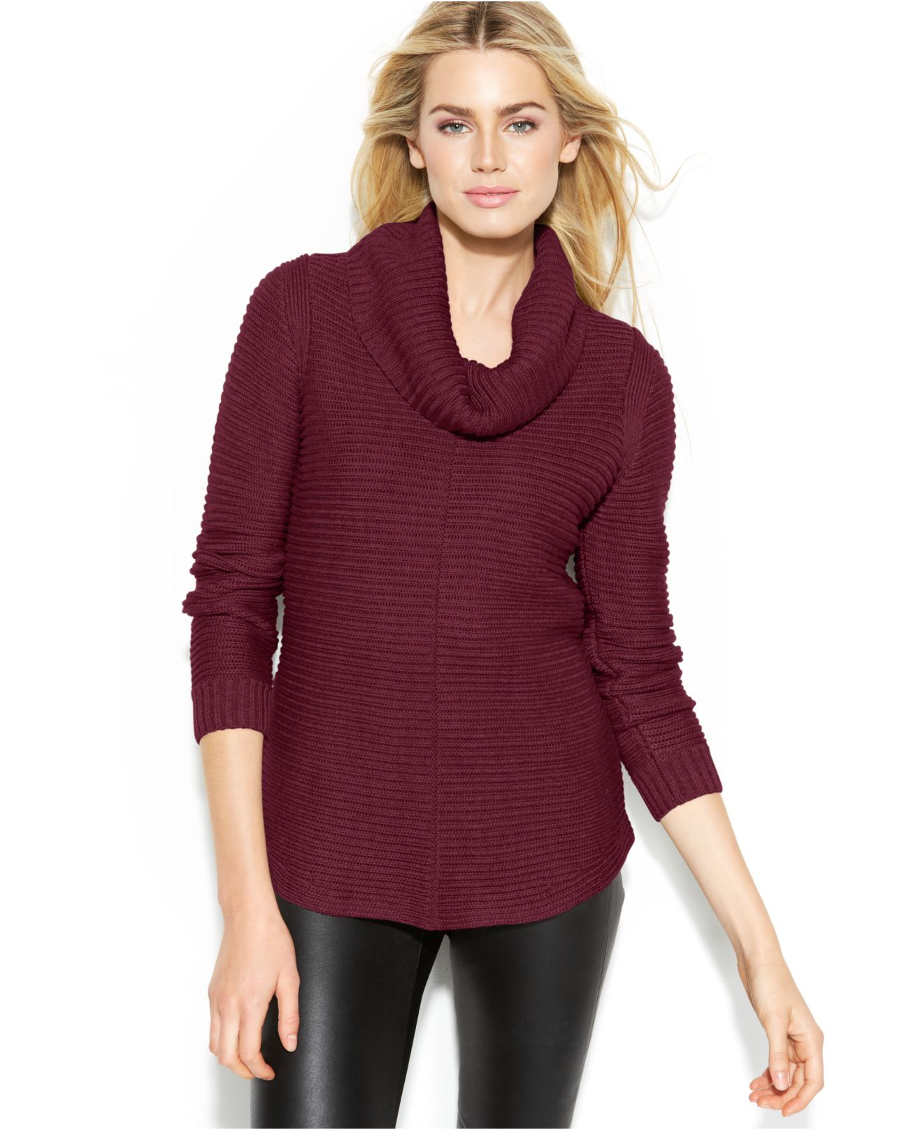 Calvin klein Ribbed Cowl-Neck Sweater in Purple | Lyst