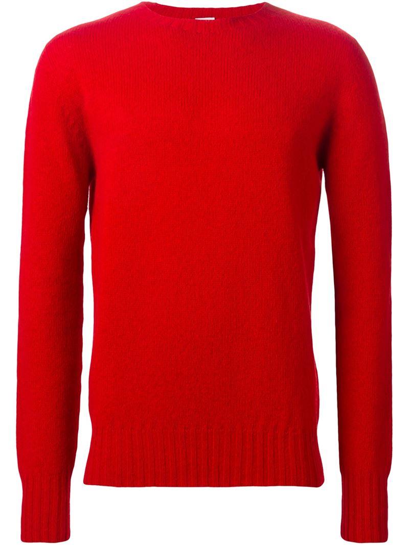Aspesi Crew Neck Sweater in Red for Men | Lyst