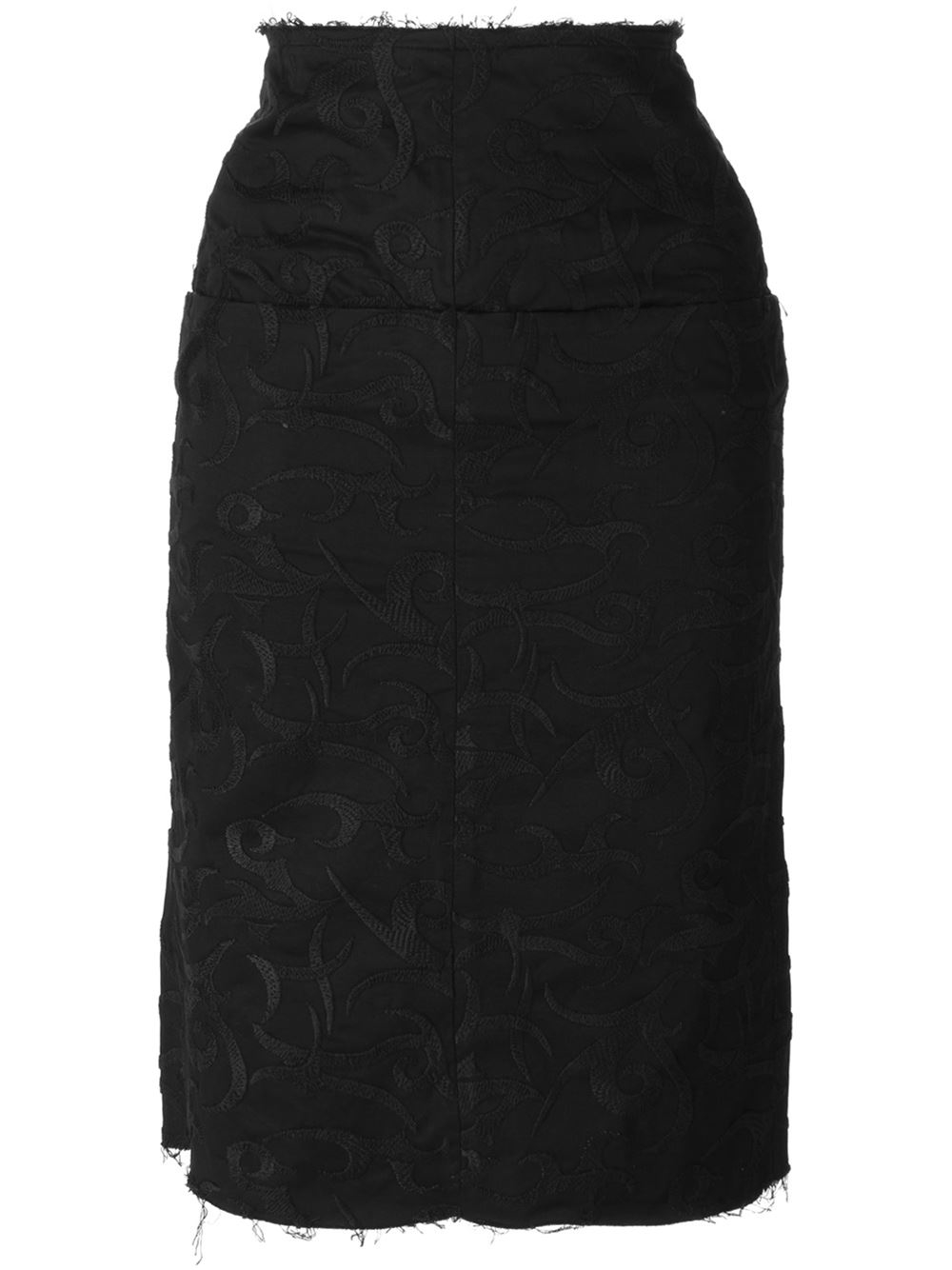 aries embroidered pencil skirt in black lyst