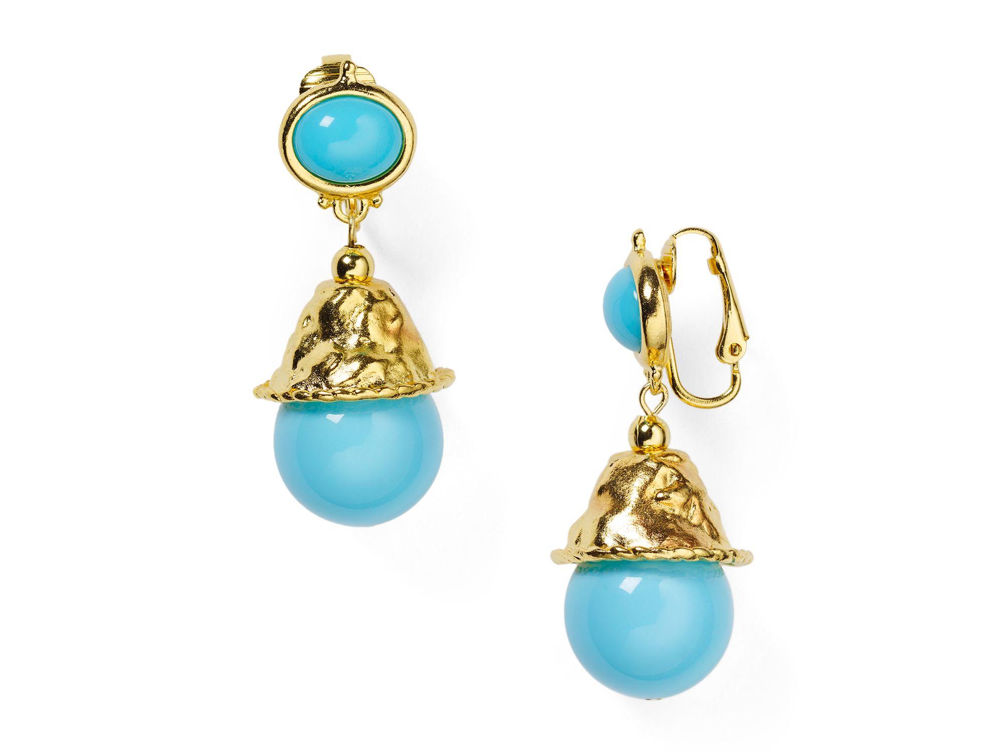 kenneth jay lane beaded drop clip on earrings in blue lyst. Black Bedroom Furniture Sets. Home Design Ideas