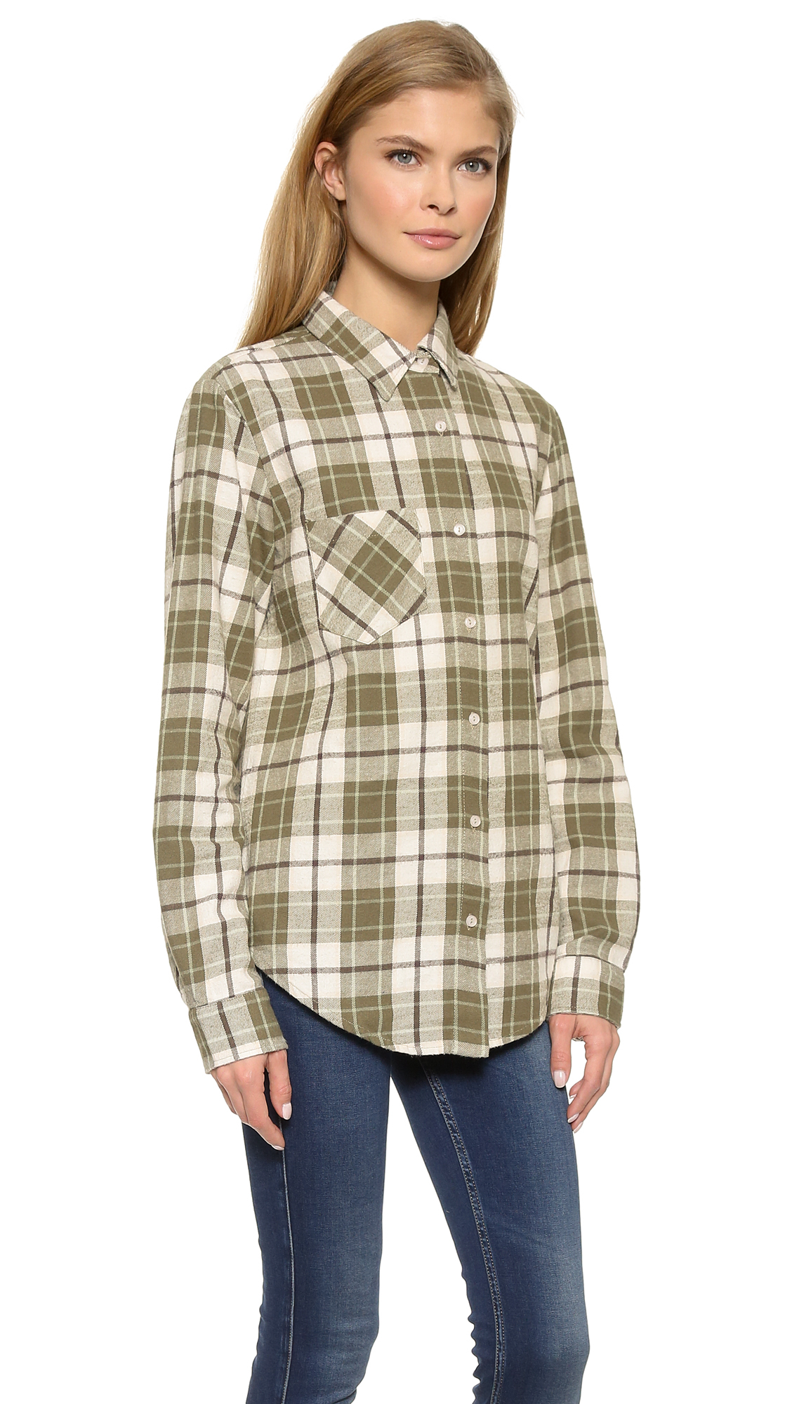 Lyst Anine Bing Plaid Shirt Olive In Green