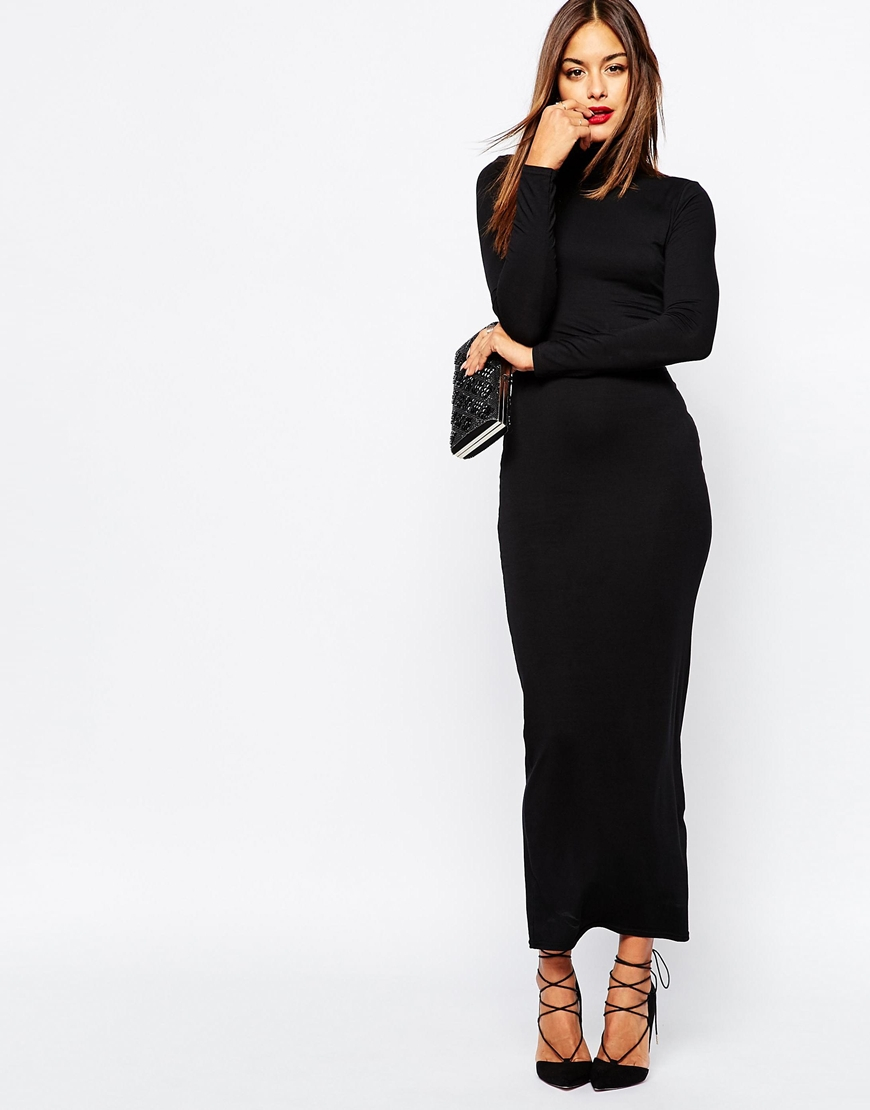 Missguided High Neck Long Sleeve Maxi Dress in Black | Lyst