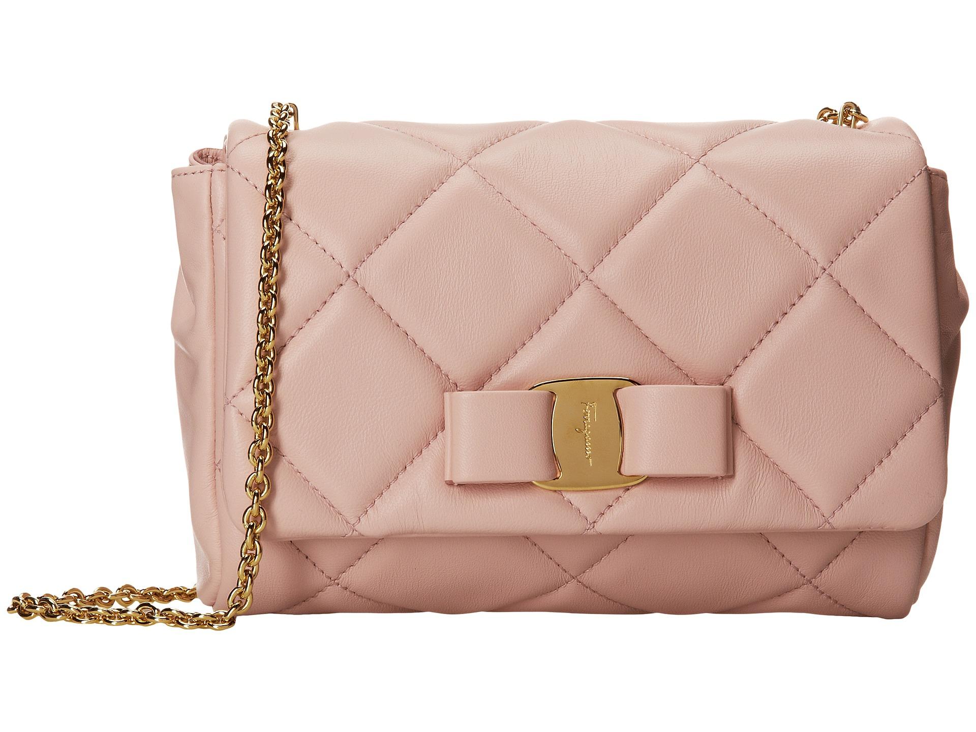 4c3f662a4463 Lyst - Ferragamo Miss Vara Quilted Mini Bag - Macaron in Pink