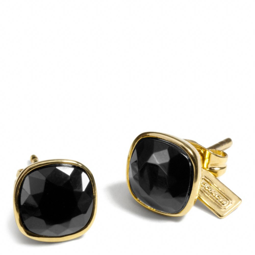 coach stud earrings coach cushion cut stud earrings in gold gold black lyst 6485