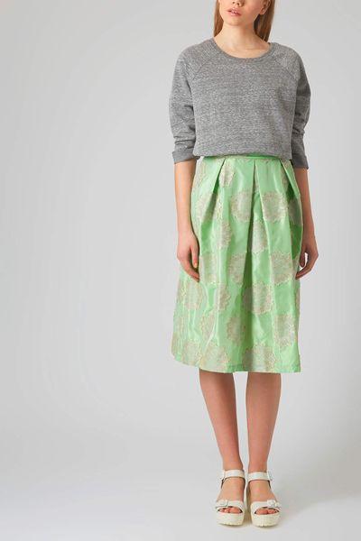 topshop antique jacquard midi skirt in green mint lyst