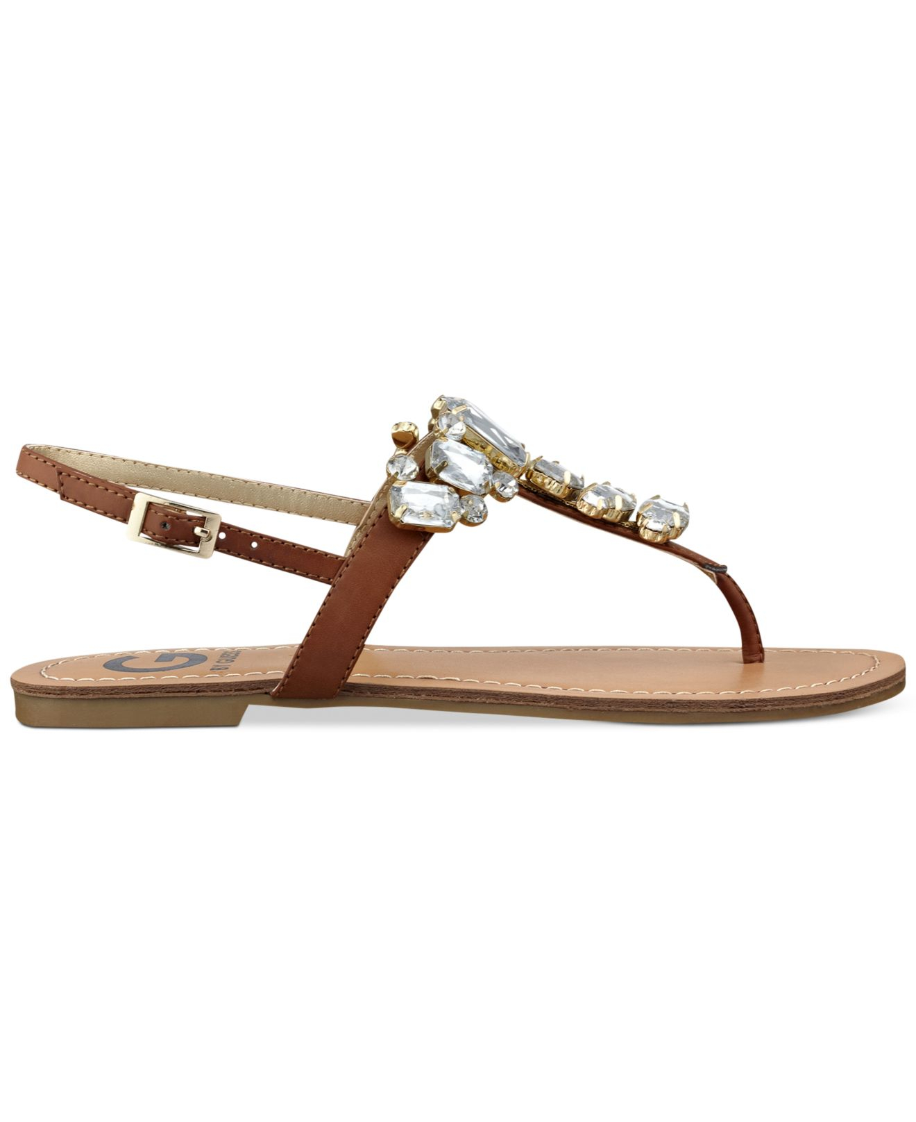 9a2edd71dc8c8 Lyst - G by Guess Women S Kyli T-Strap Flat Thong Sandals in Brown