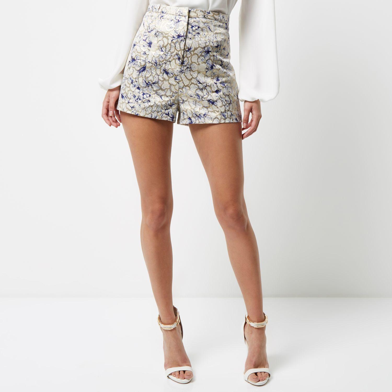 River island Cream Print Jacquard High Waisted Shorts in Natural ...