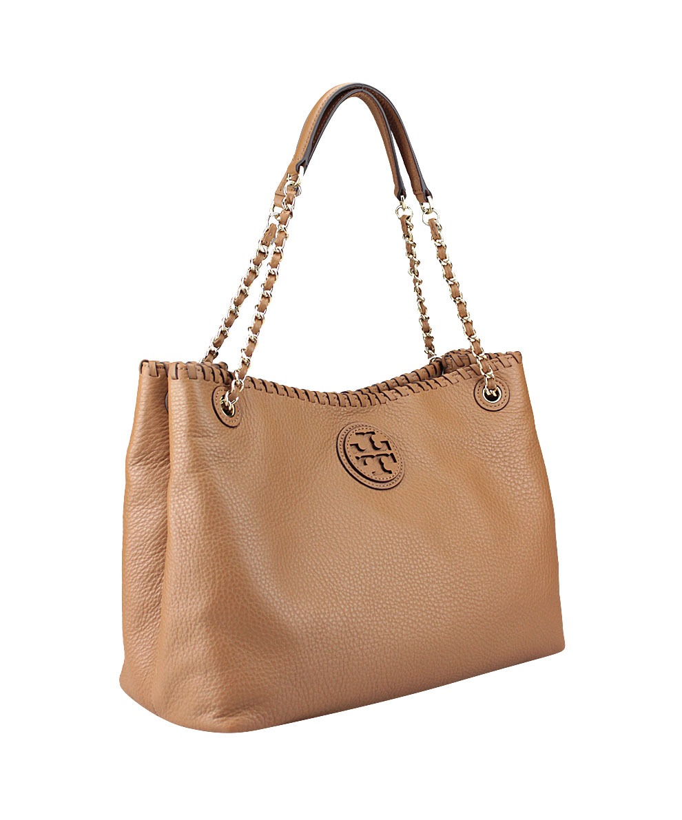 Tory Burch Leathered Marion Slouchy Tote Handbag In Brown