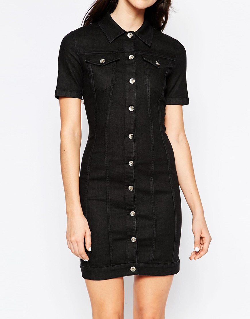 Lyst Love Moschino Denim Dress With Lace Up Back In Black