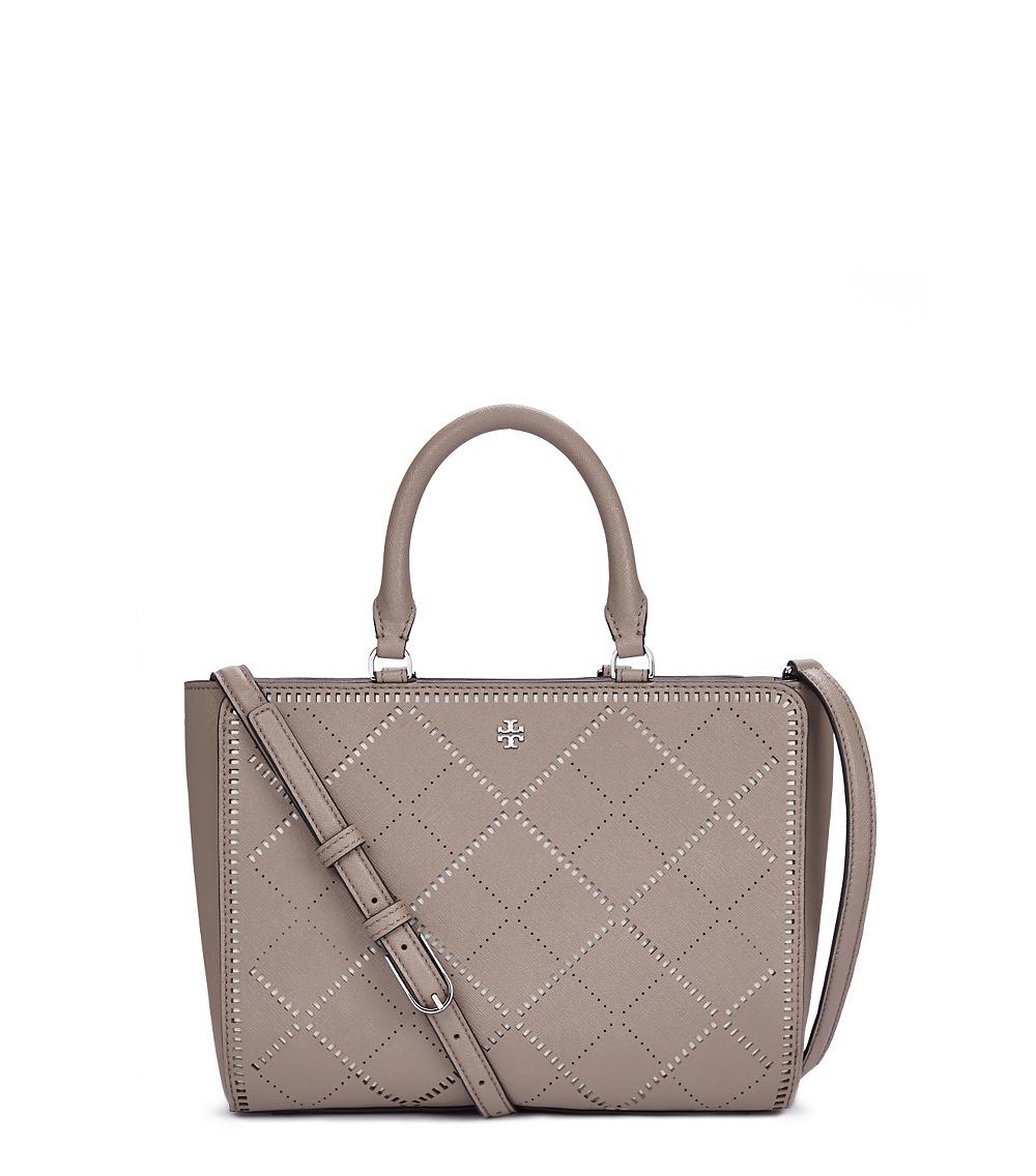a95b27afd0e4 Lyst - Tory Burch Robinson Crosshatch Small Zip Tote in Gray
