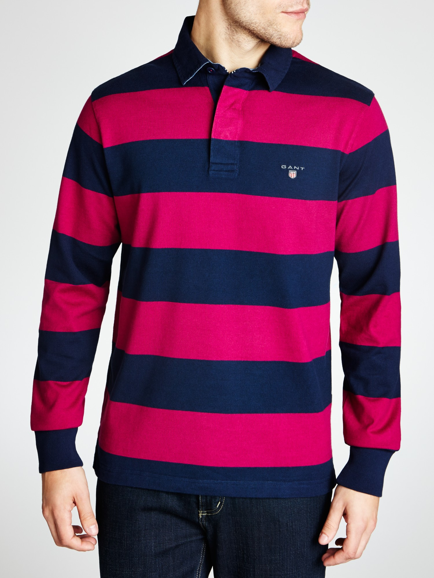 75405a64051 GANT Bar Stripe Long Sleeve Rugby Shirt in Purple for Men - Lyst