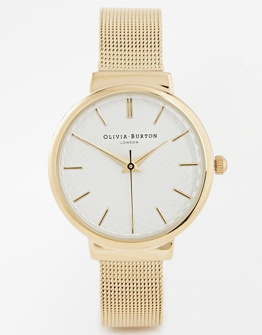 51556a5a1b28 Lyst - Olivia Burton Hackney Gold Mesh Midi Dial Watch in Metallic