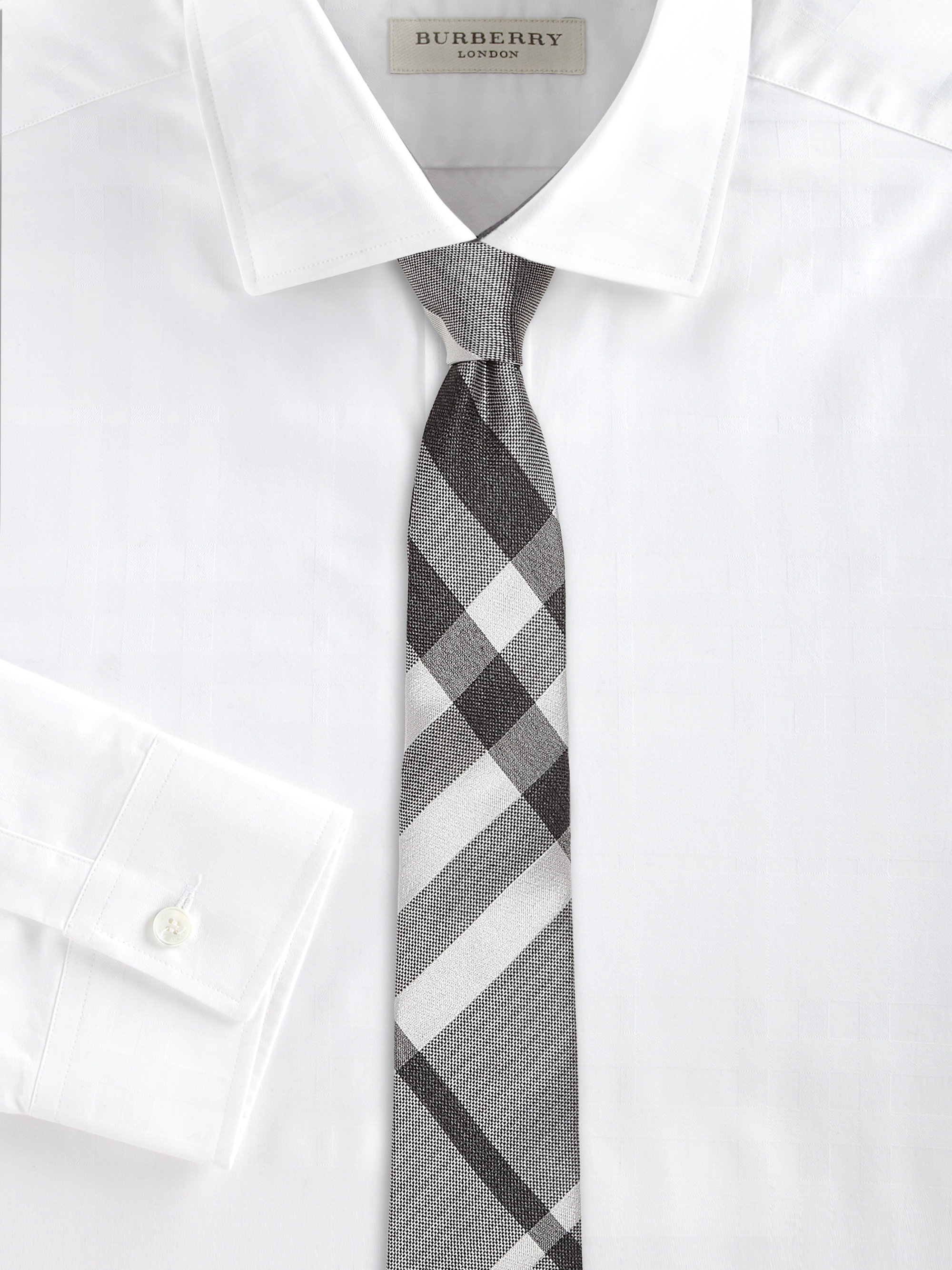 a0bd73ec5 ... promo code lyst burberry check silk tie in black for men 9453a 65acf