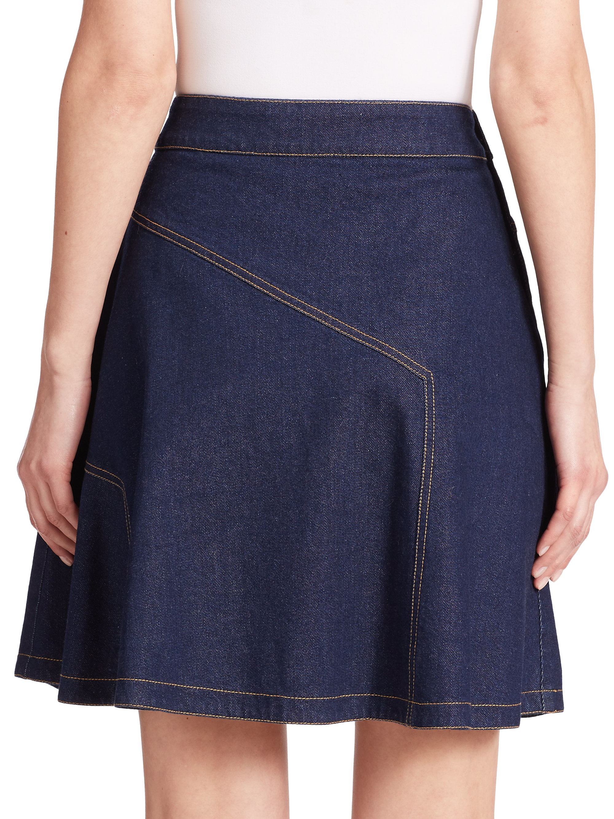 see by chlo 233 flared denim skirt in blue lyst