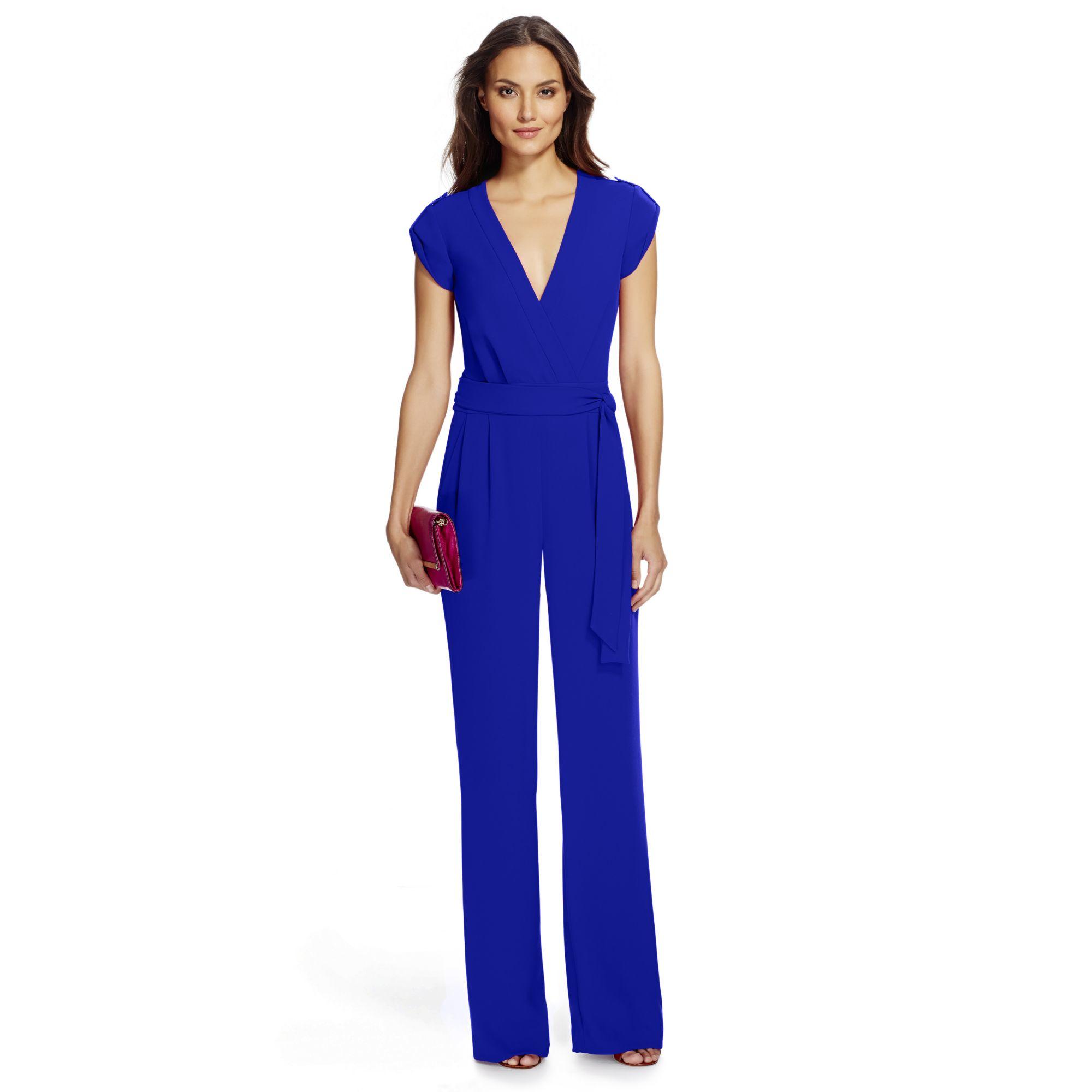 716f332e1c18b Lyst - Diane von Furstenberg Dvf Purdy Crepe Jumpsuit in Blue