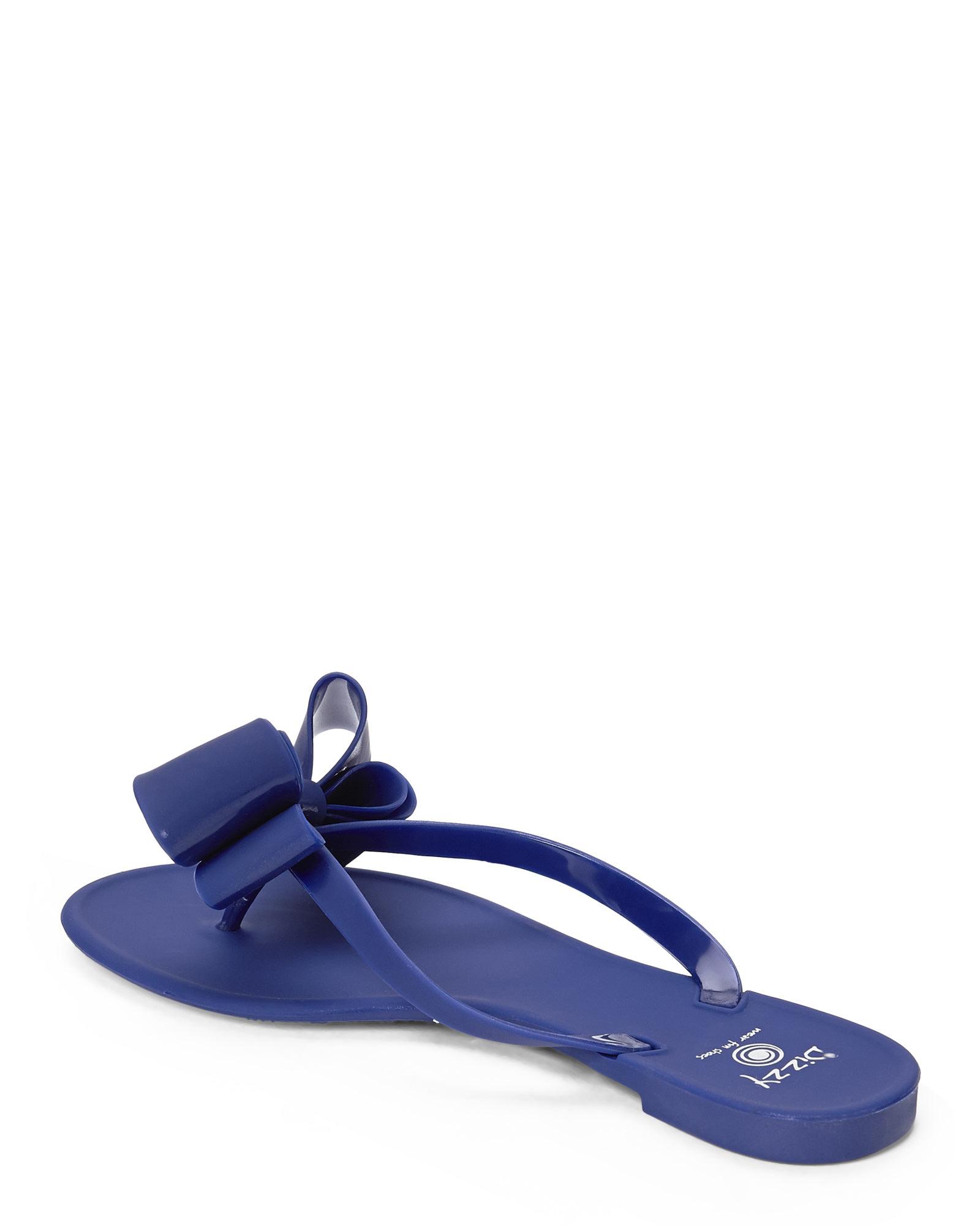 91612d499c8b6 Lyst - Dizzy Matte Bow Thong Sandals in Blue