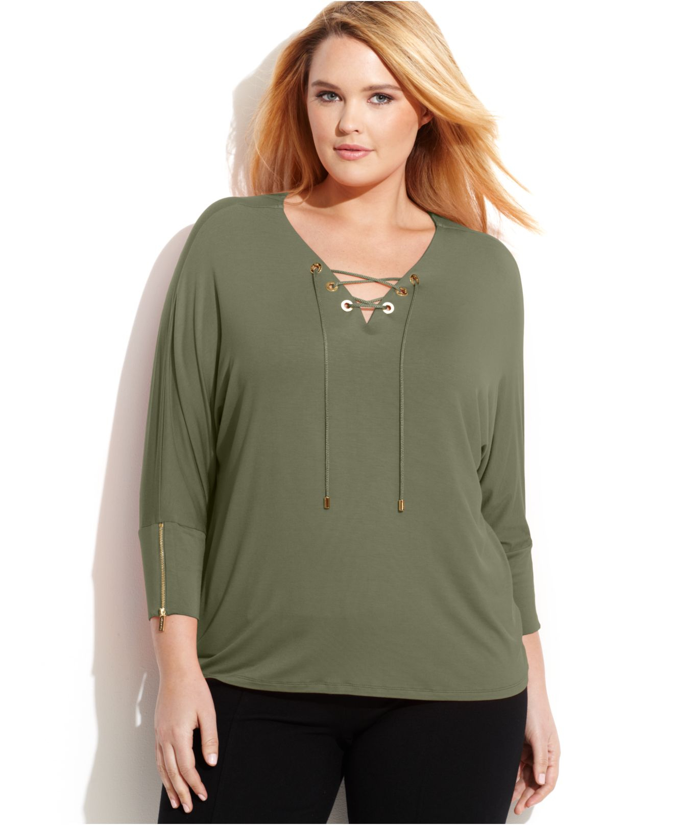 8d2855ab8fc642 Calvin Klein Plus Size Three-Quarter-Sleeve Lace-Up Top in Green - Lyst