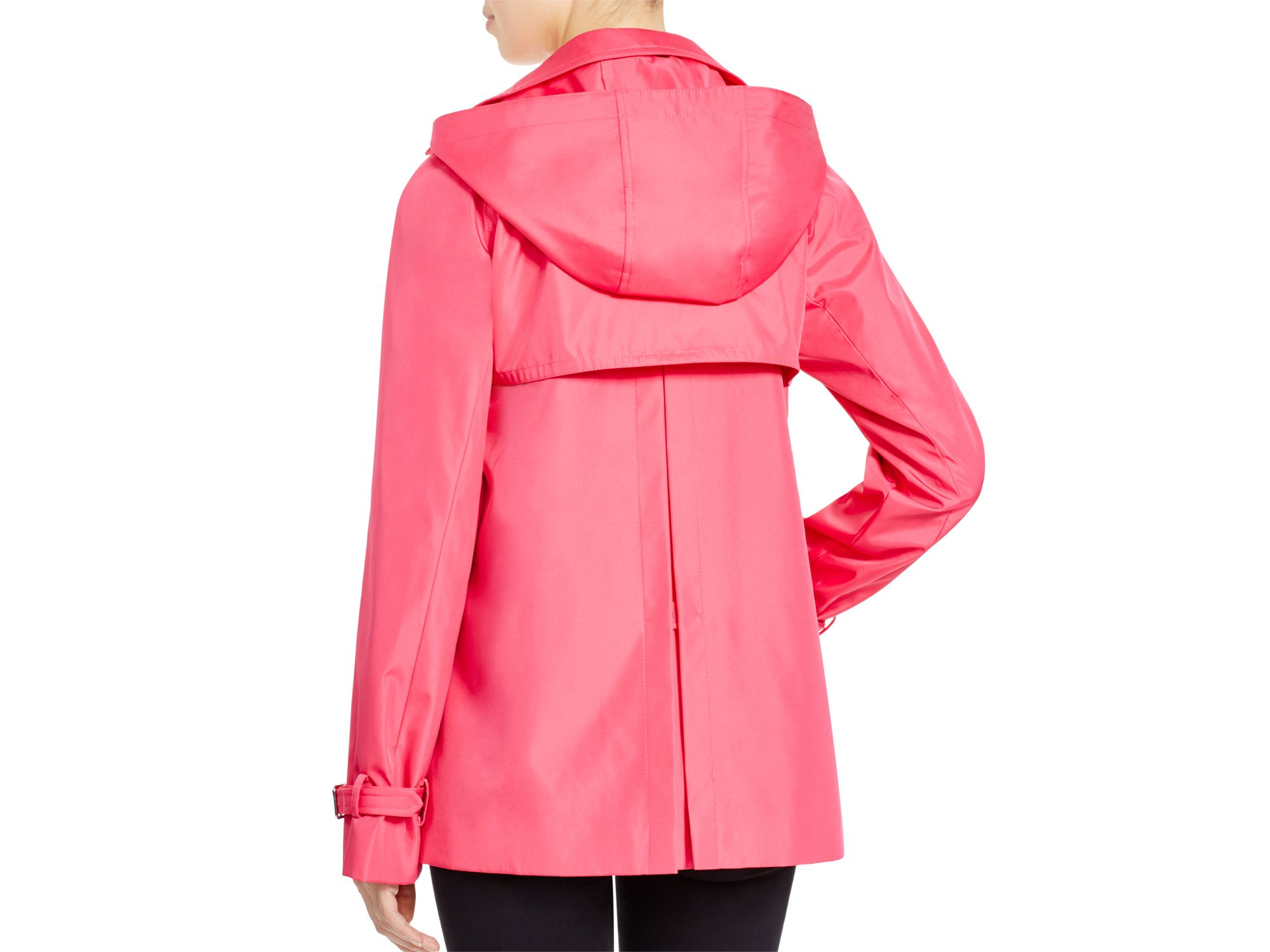 Calvin klein Double-breasted Short Raincoat in Pink | Lyst