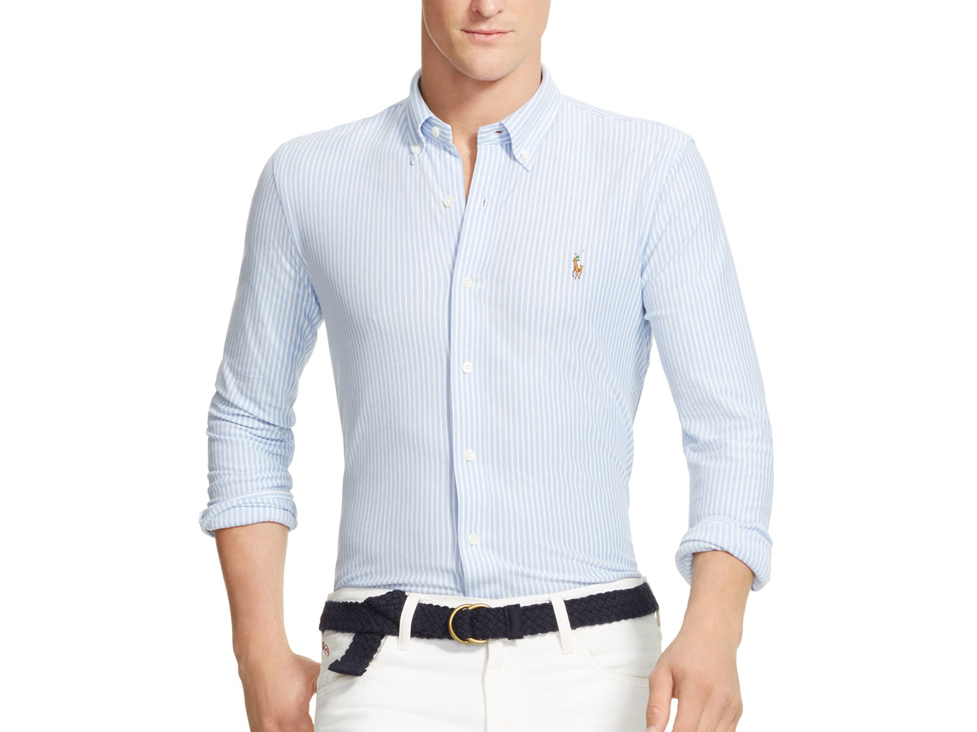 f2776668ce8a Lyst - Polo Ralph Lauren Striped Knit Oxford Slim Fit Button Down ...