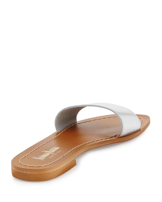 Neiman marcus Filomena Leather Slide Sandal in Brown   Lyst