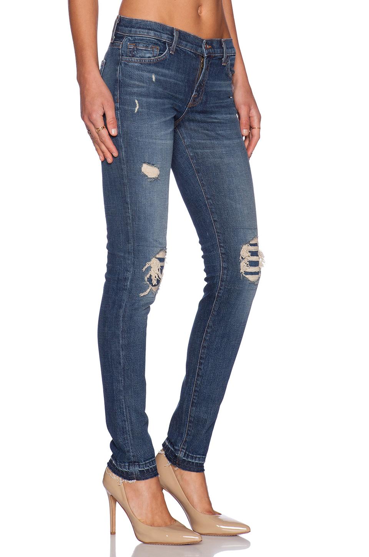 j brand 9077 ellis straight low rise jeans in blue villain lyst. Black Bedroom Furniture Sets. Home Design Ideas