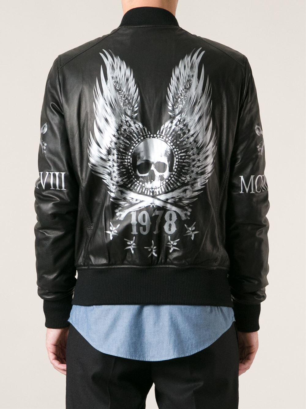 Philipp Plein Leather Bomber Jacket In Black For Men Lyst