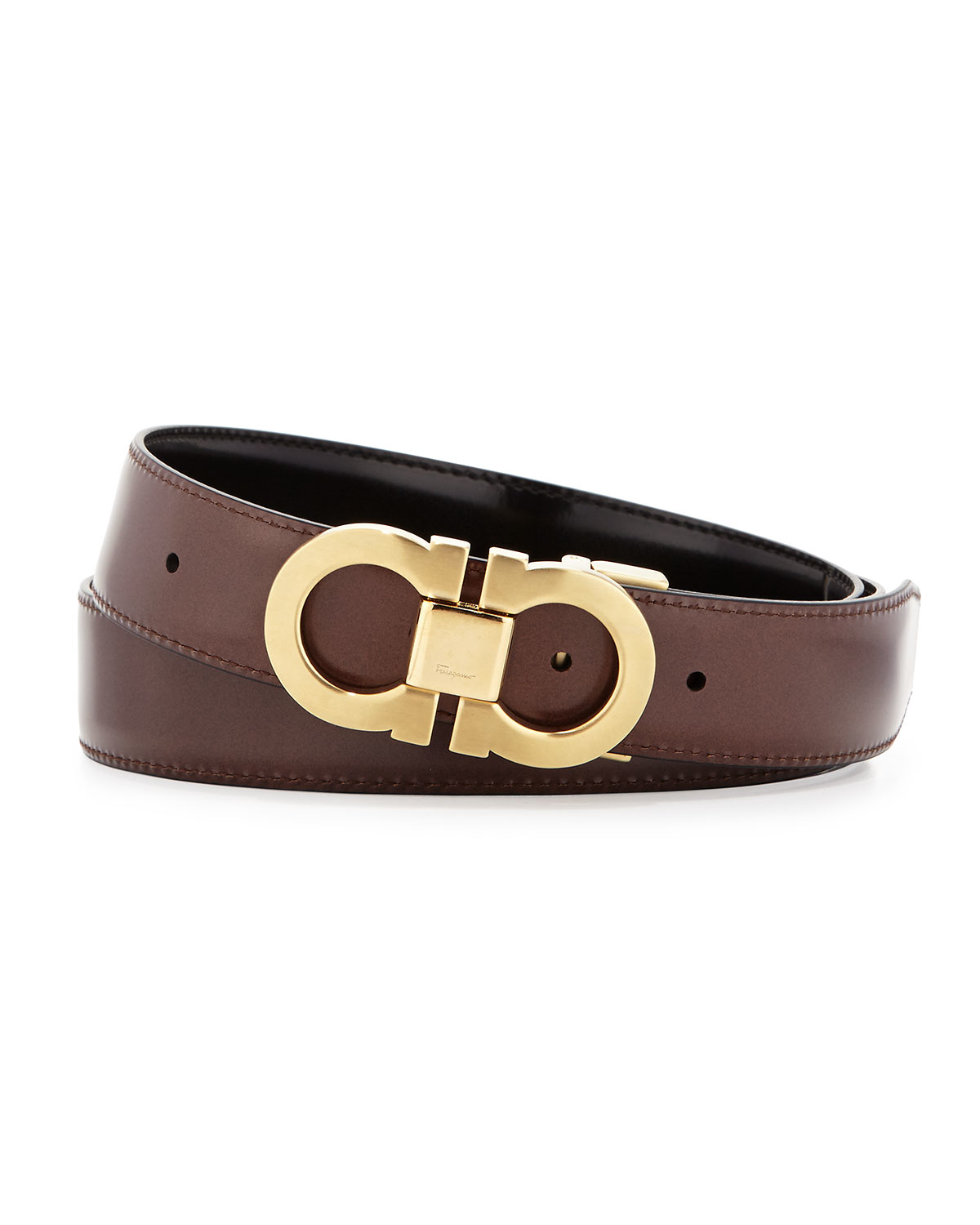 ferragamo reversible leather belt boxed gift set in brown