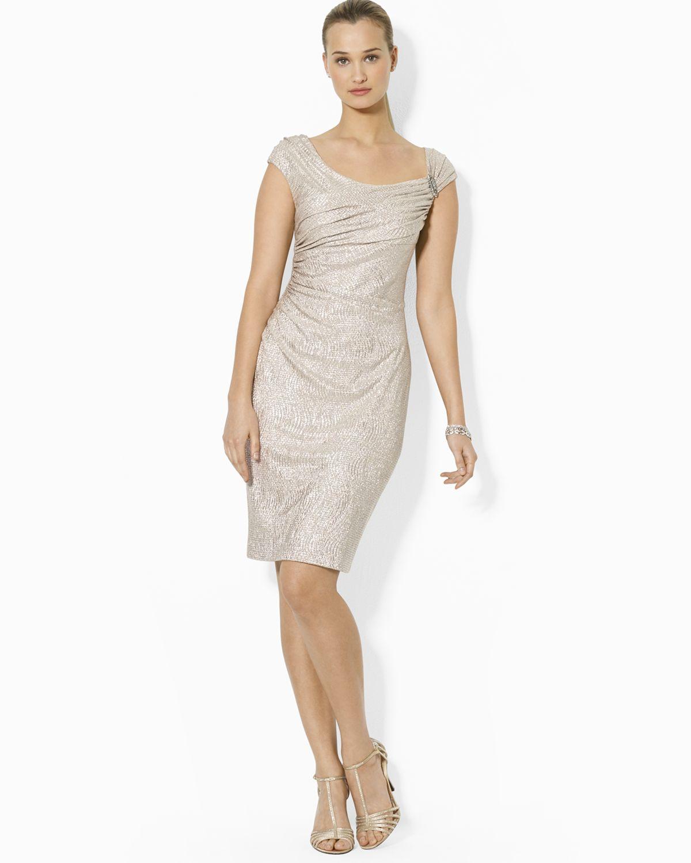 Ralph Lauren Lauren Dress Cap Sleeve Pin In Metallic