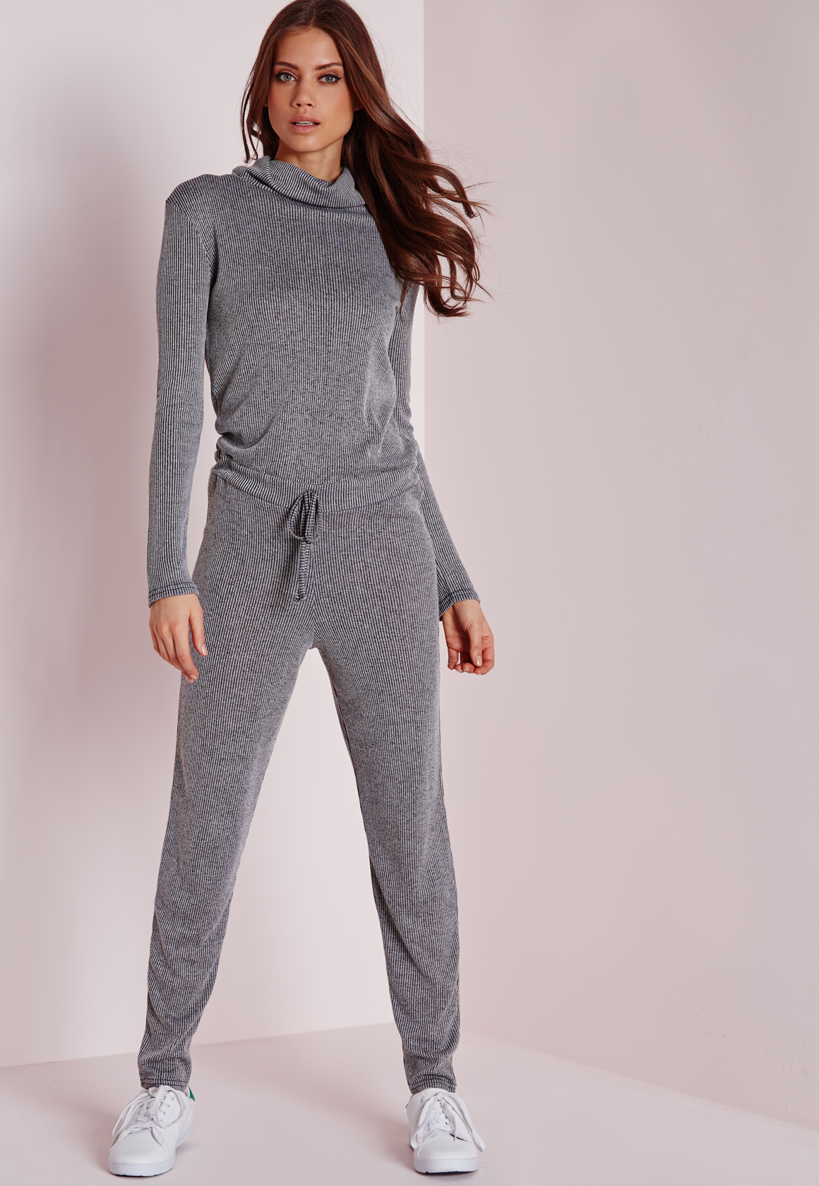 da762cc9b075 Lyst - Missguided Long Sleeve Ribbed Drawstring Jumpsuit Grey in Gray