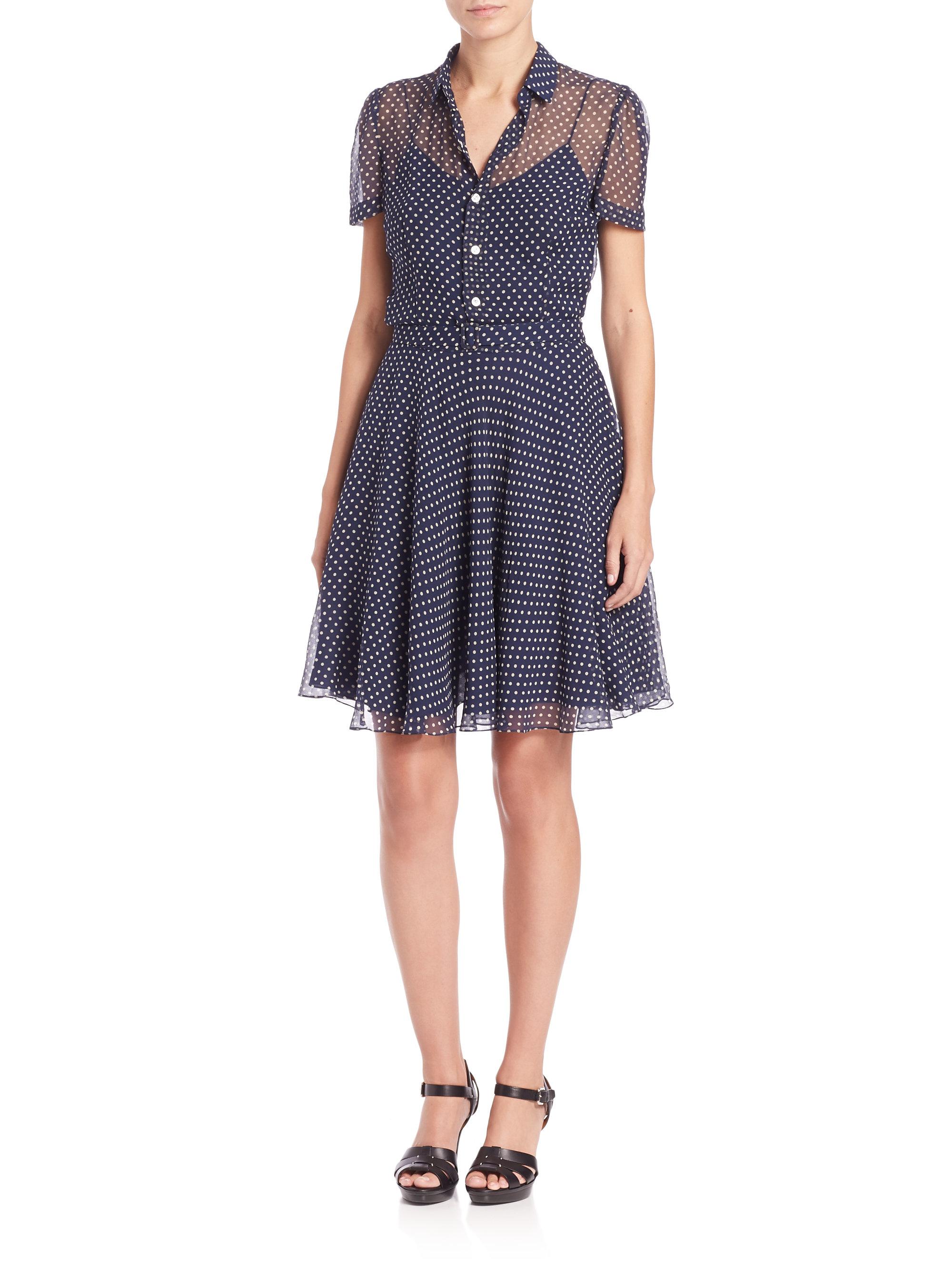 602233a3e26ed Polka Dot Silk Georgette Dress Short Dresses Ralphlauren. Gallery Lyst Polo Ralph  Lauren On Down Shirt Dress In Blue