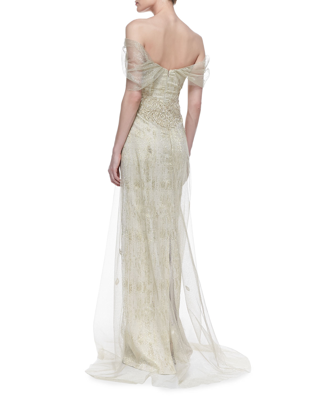 Lyst - Rene Ruiz Off-Shoulder Chiffon Gown in White
