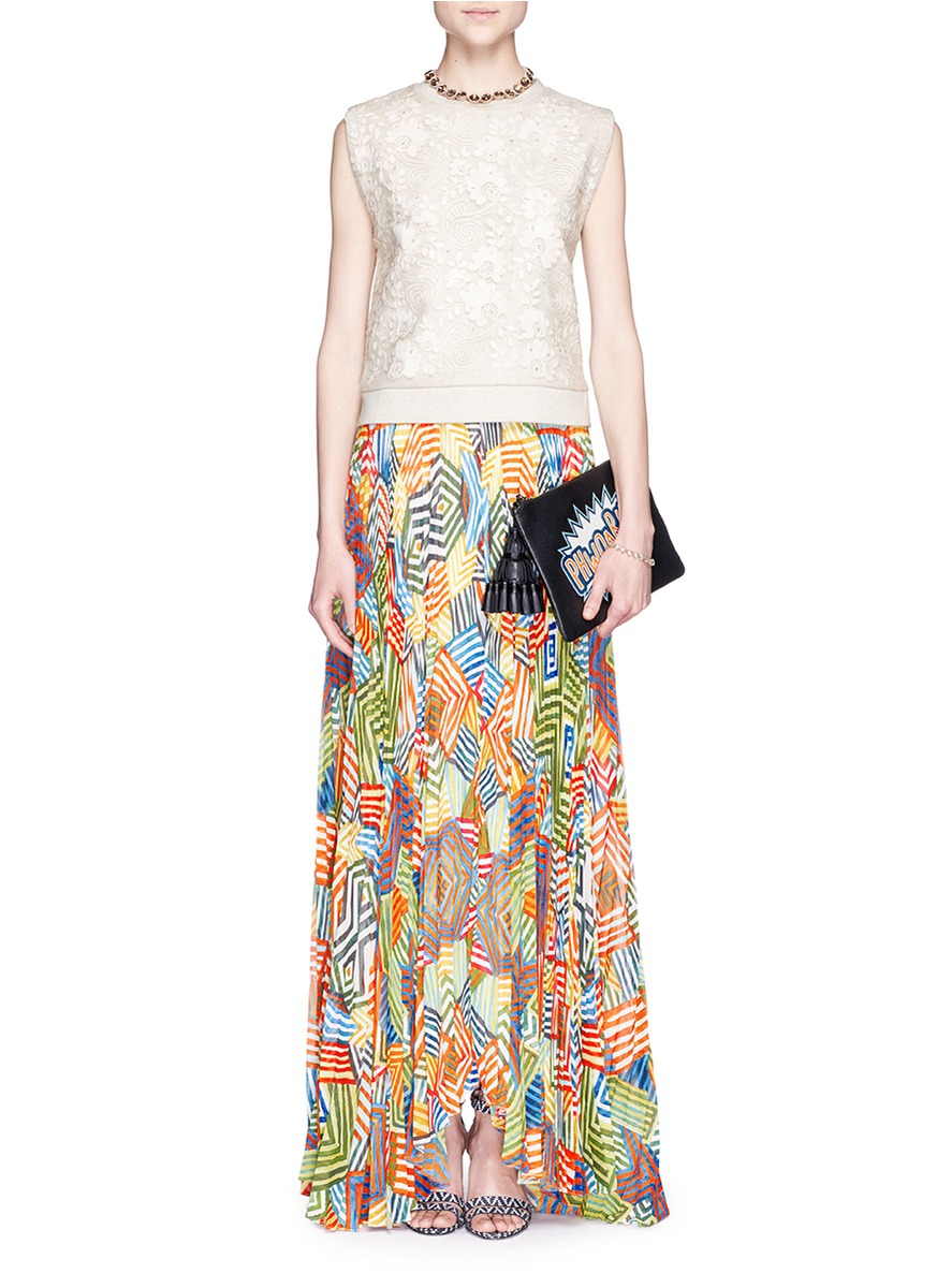 faa85ed0752a Alice + Olivia 'shannon' Multi Stripe Pleat Maxi Skirt - Lyst