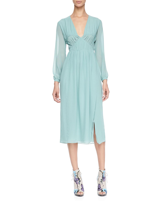 Burberry Prorsum Runway London Fashion Week Aw14: Burberry Prorsum Smocked Silk Dress In Blue (DARK SAND)