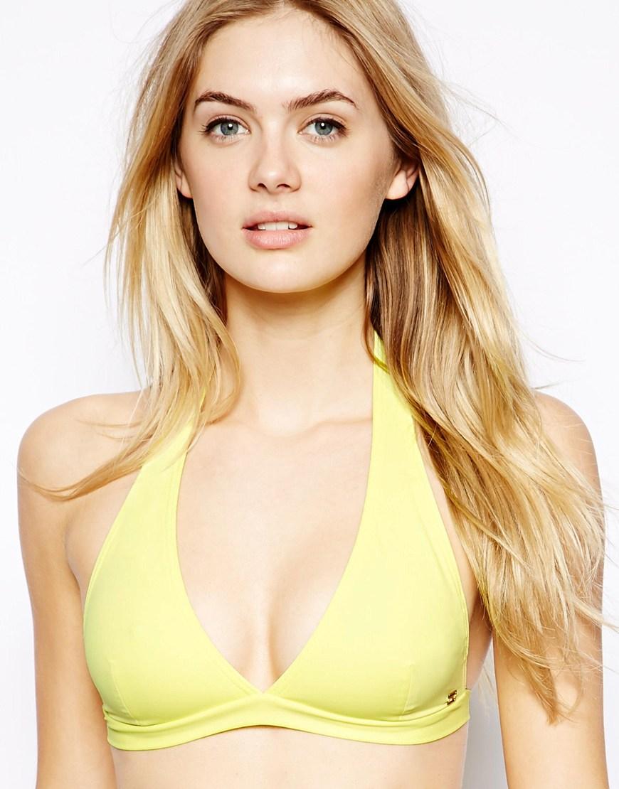 Yellow halter bikini