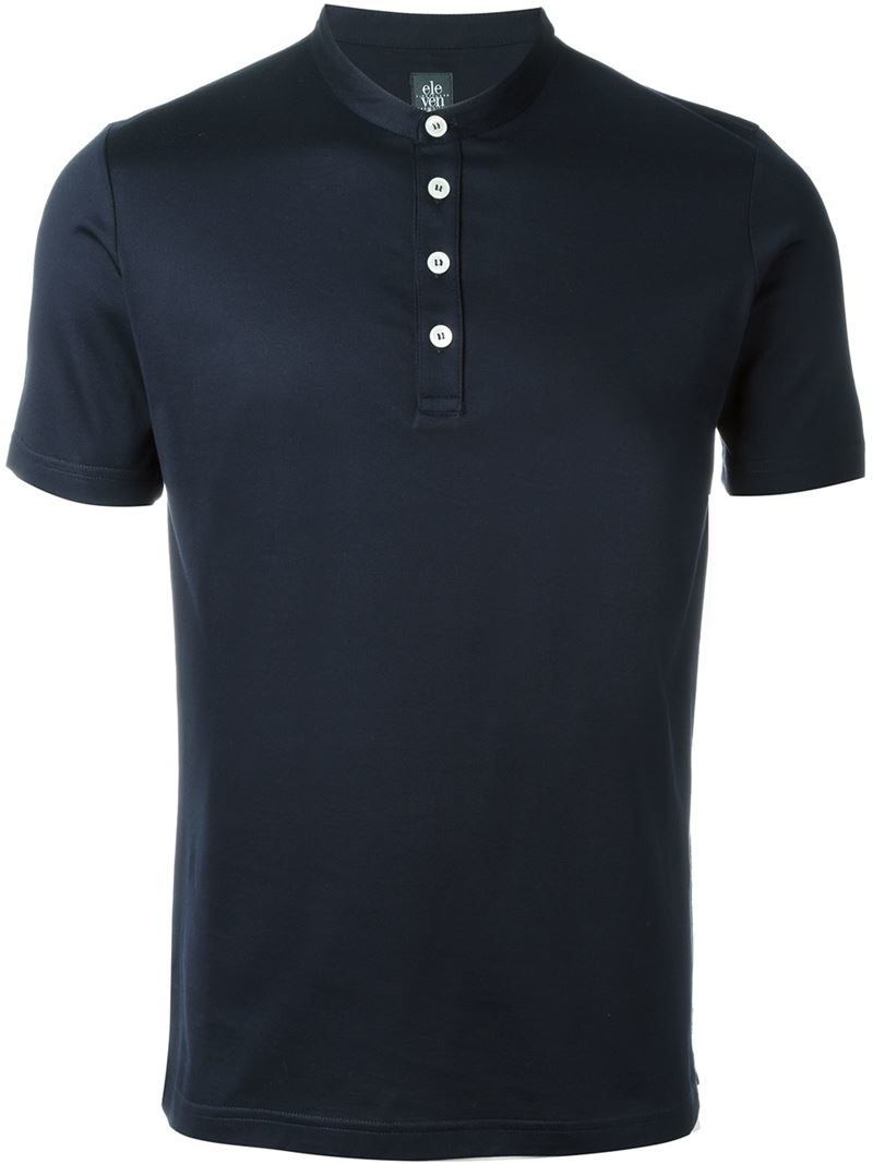 eleventy button down t shirt in blue for men save 21 lyst