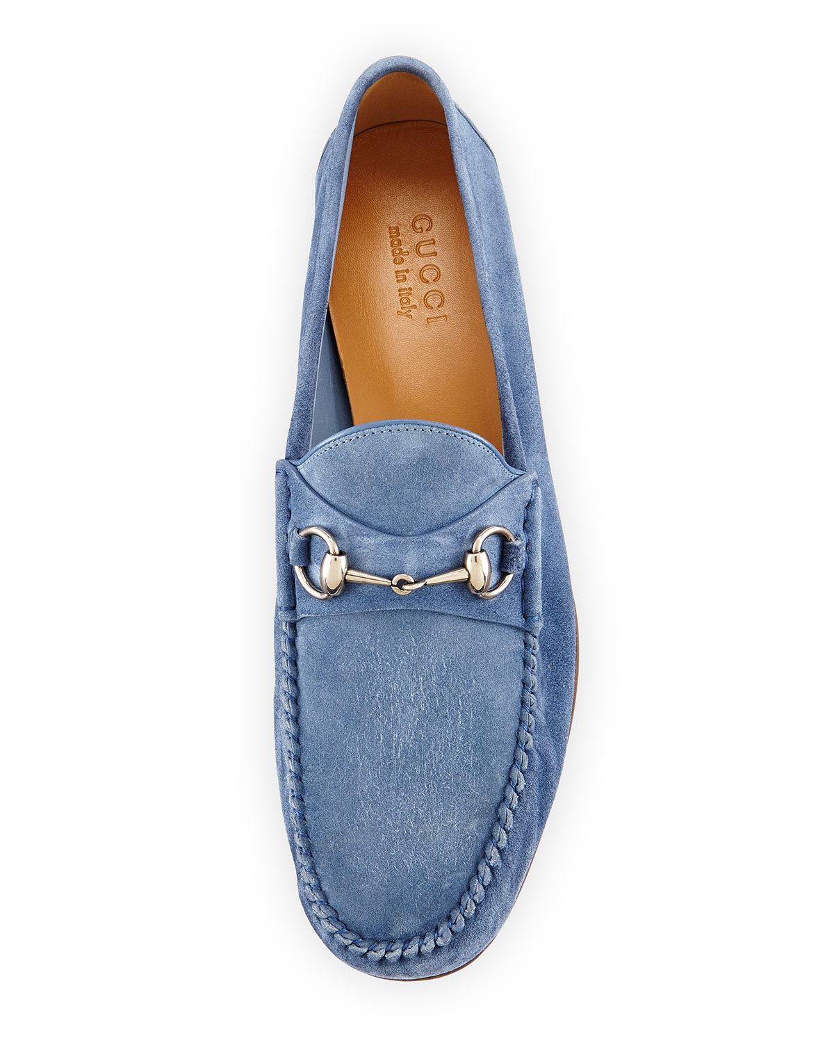 9a592eec4 Gucci Unlined Suede Horsebit Loafer in Blue for Men - Lyst