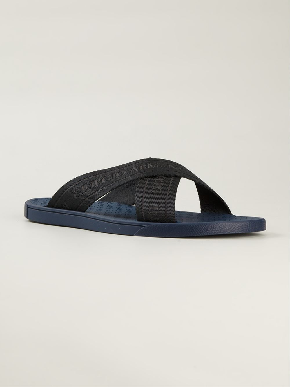 6265a9668 Lyst - Giorgio Armani Logo Crossed Sandals in Black for Men