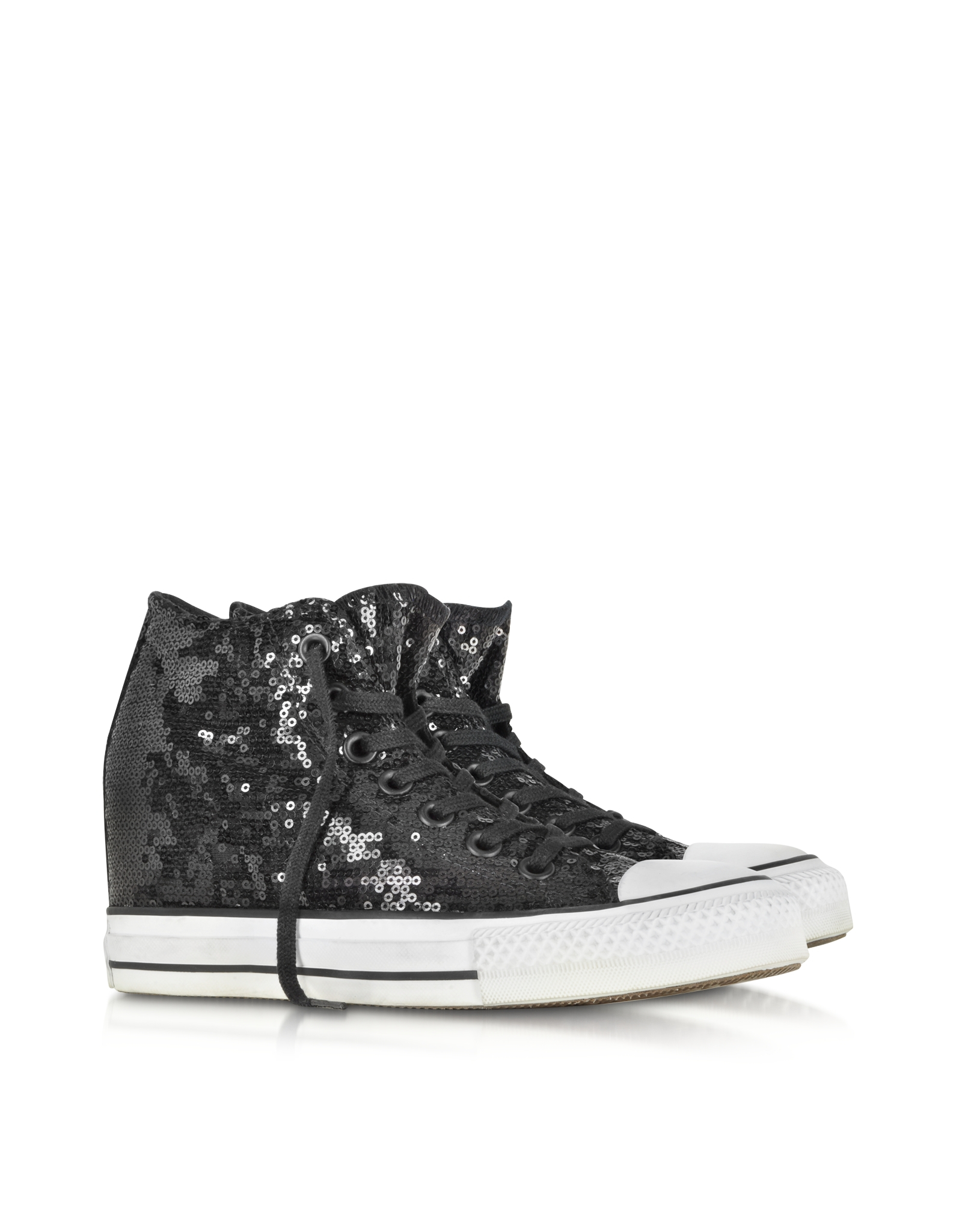 7316209931c Converse - All Star Mid Lux Black Sequins And Canvas Wedge Sneaker - Lyst