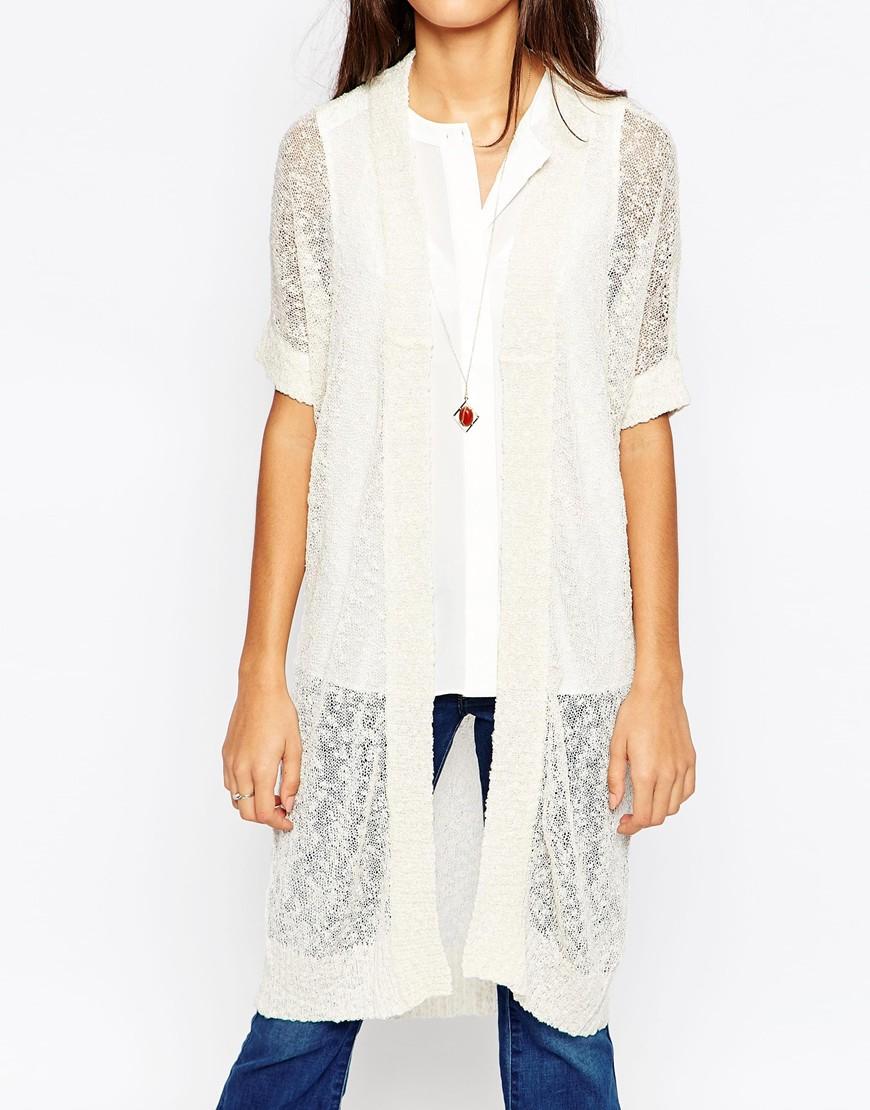 Vero moda Short Sleeve Long Line Cardigan in White | Lyst