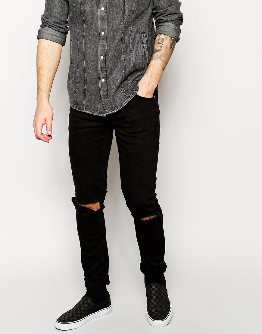 Cheap monday Exclusive Tight Skinny Jeans With Ripped Knee in