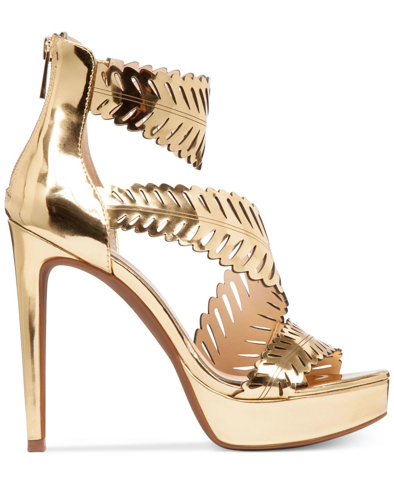 f127af70363f Lyst - Jessica Simpson Azure Platform Dress Sandals in Metallic