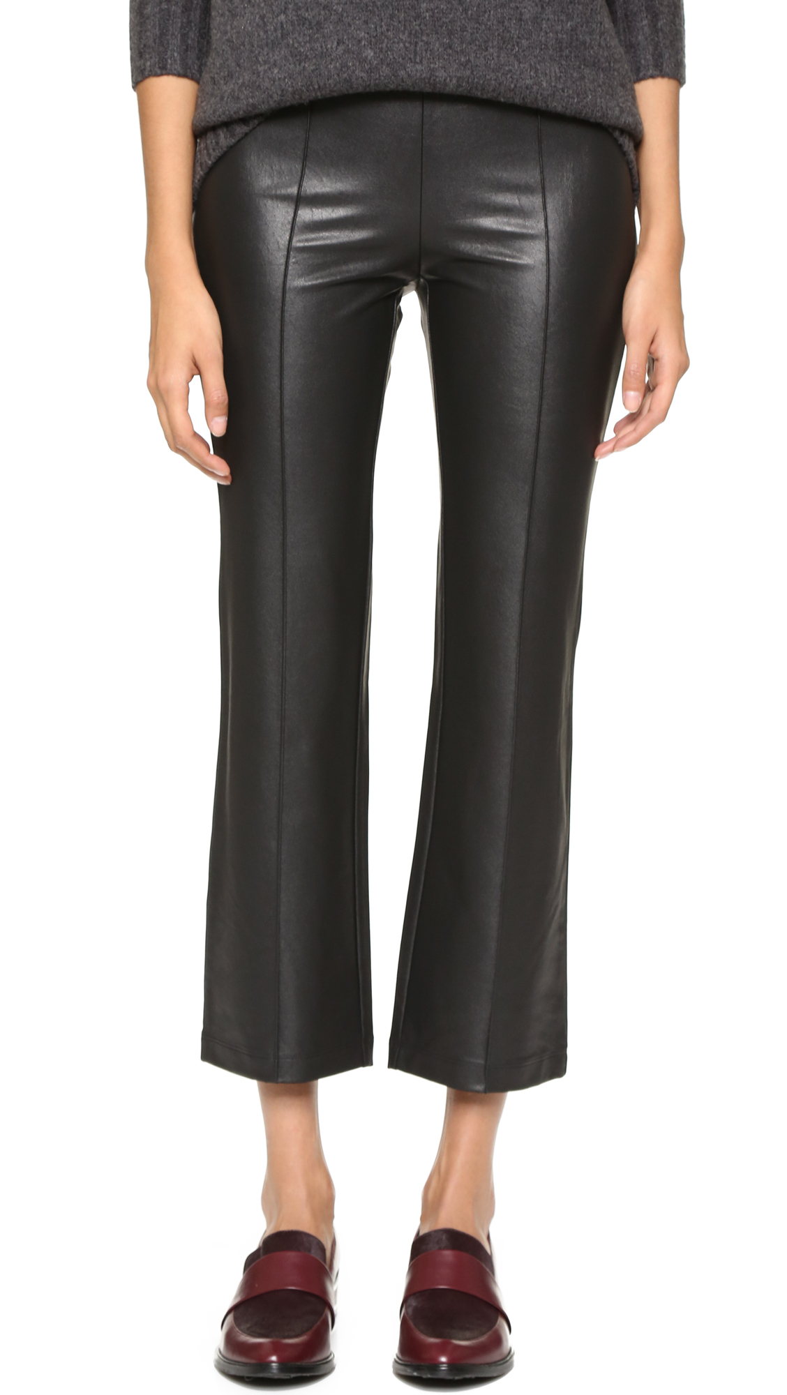 32f5965cdfab1 BCBGMAXAZRIA Faux Leather Cropped Pants in Black - Lyst