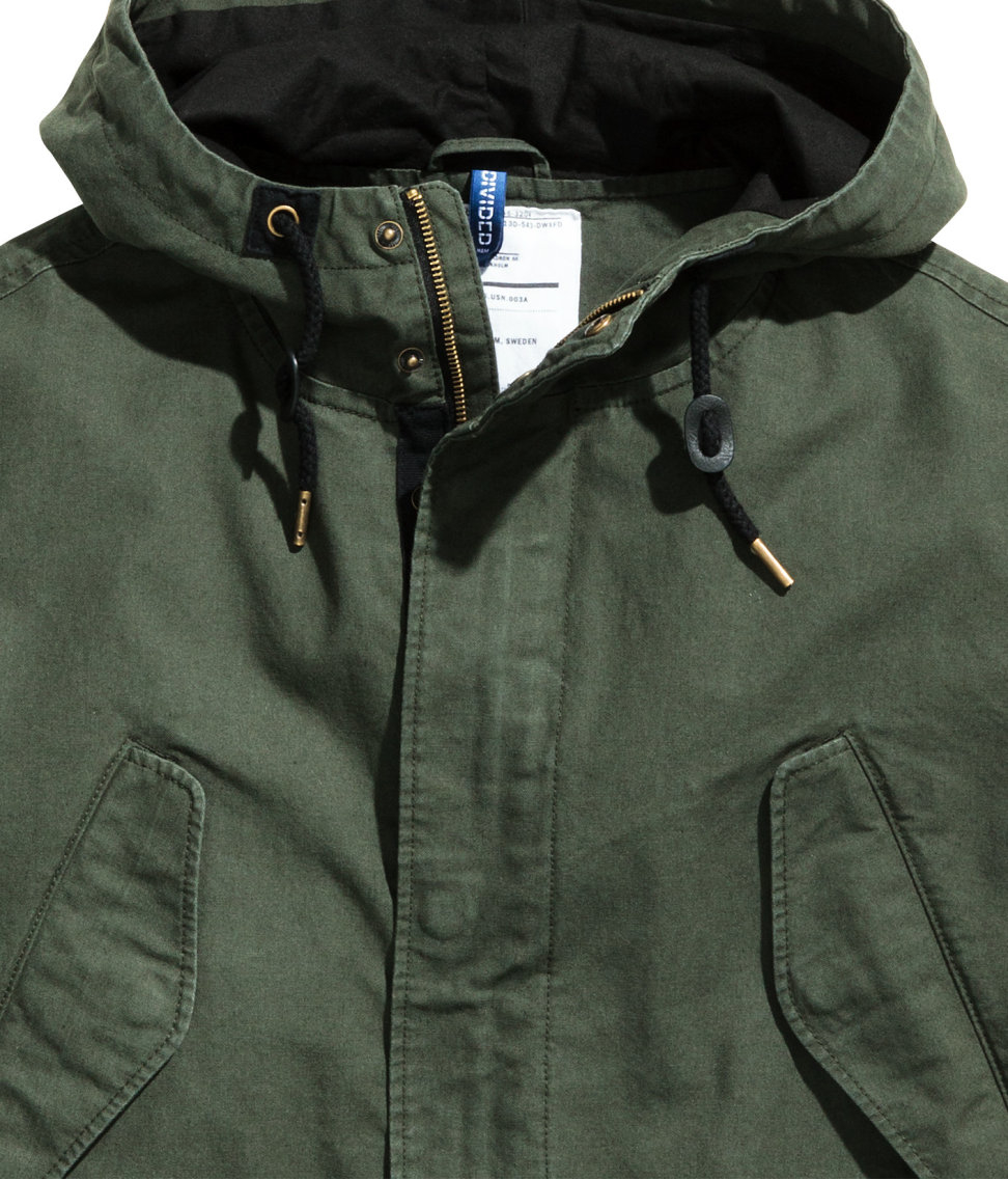 H&m Cotton Parka in Green for Men | Lyst