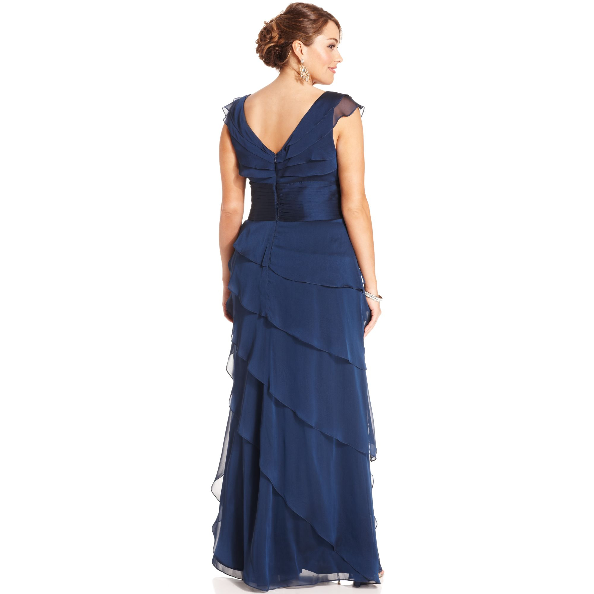 Adrianna papell Sleeveless Tiered Empire Waist Evening Gown in ...