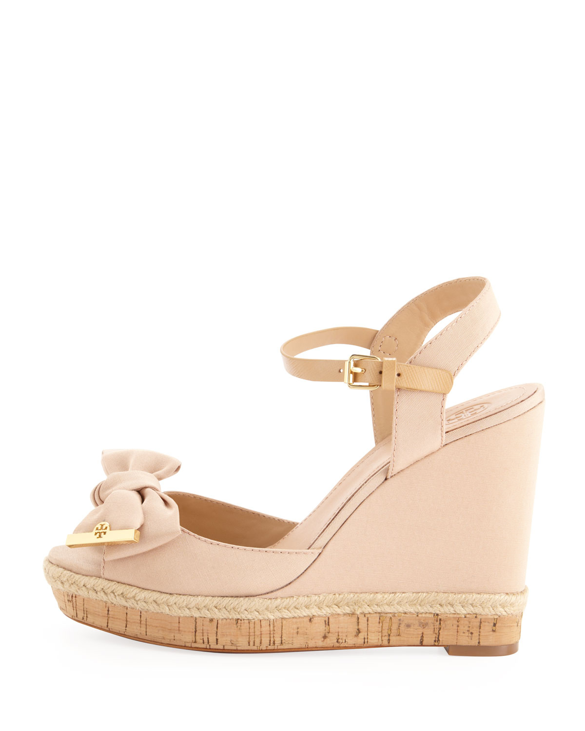 ebf49b513bbfaa Lyst - Tory Burch Penny Faille Bow Wedge in Pink