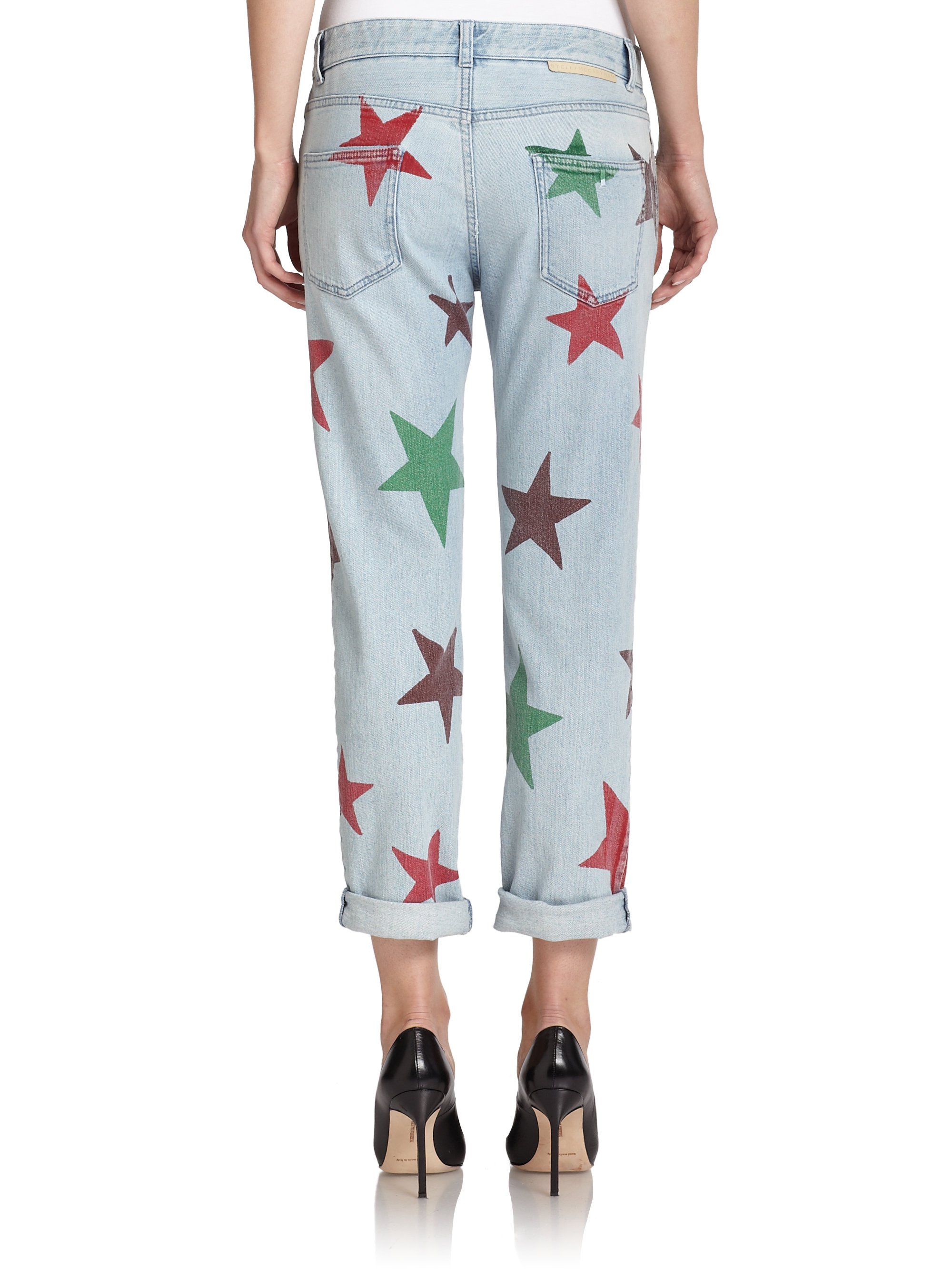 Stella mccartney Star-print Boyfriend Jeans in Blue | Lyst