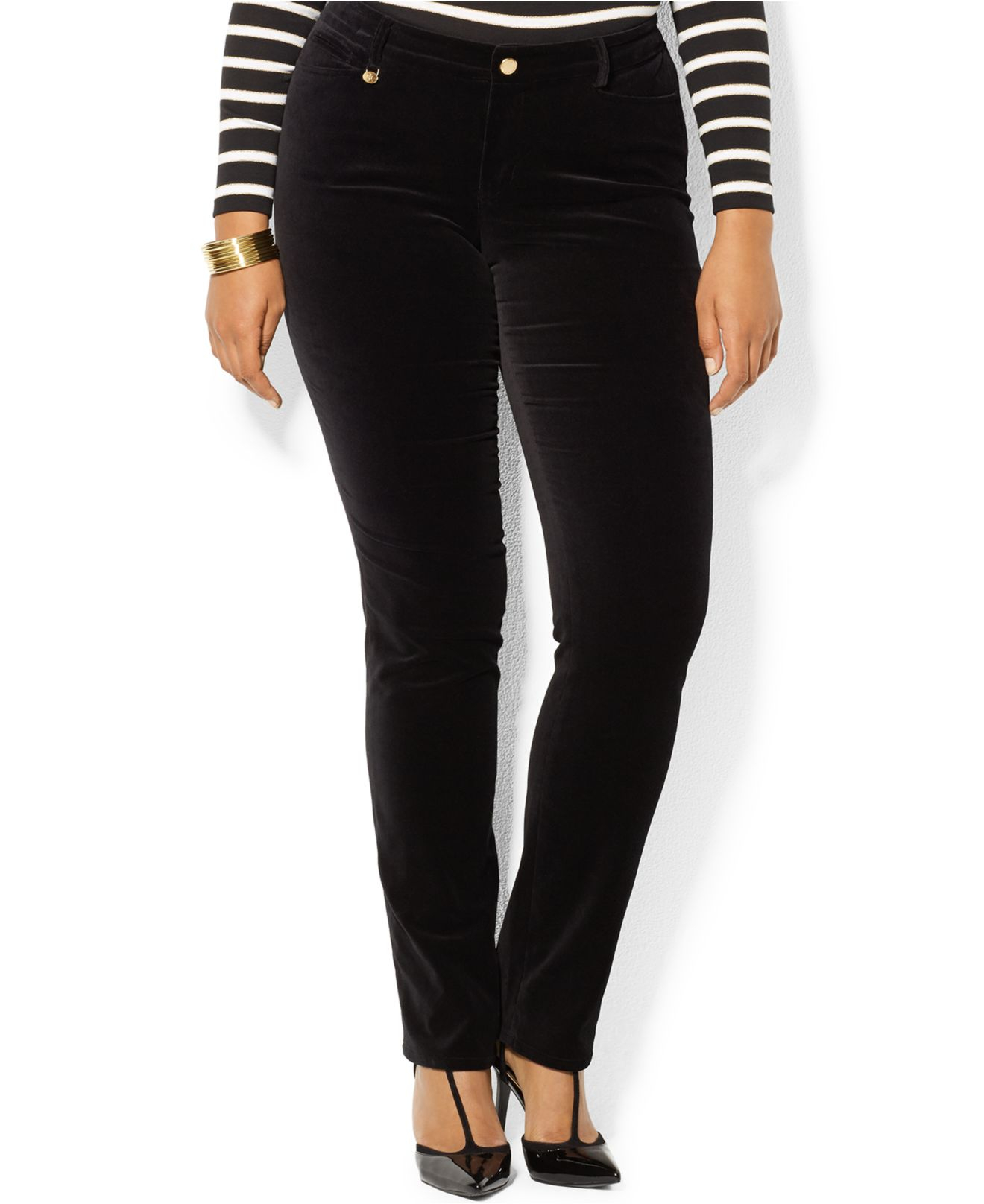 Plus Size Black Skinny Dress Pants | Saddha
