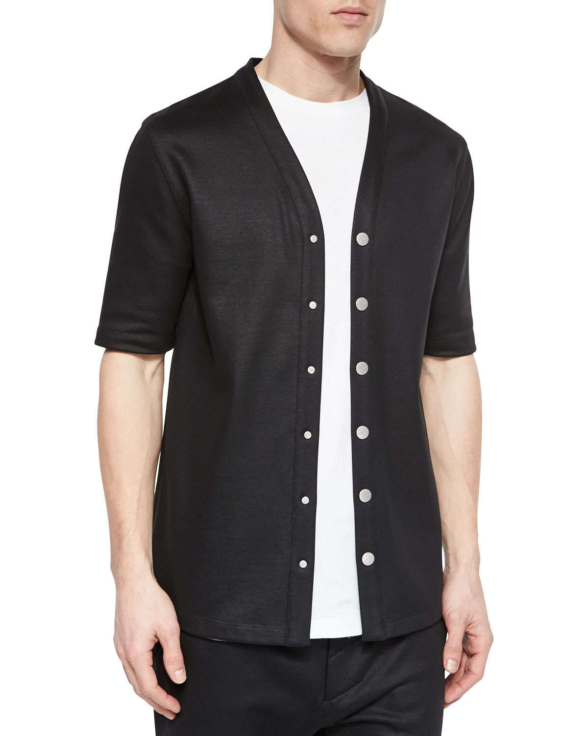 helmut lang cotton button down baseball jersey shirt in