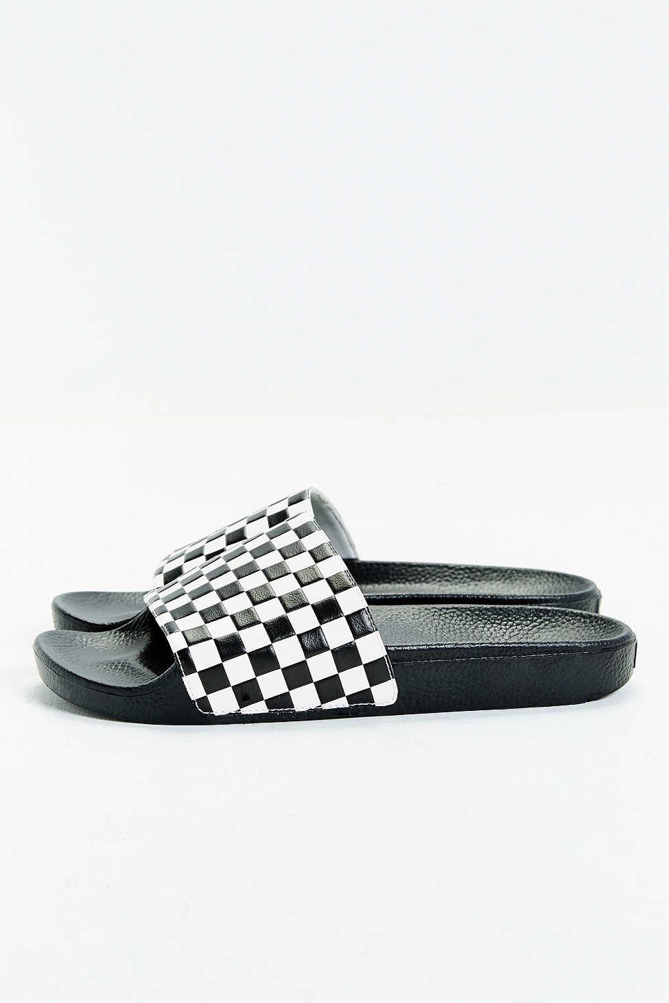 Lyst - Vans Slide-on Checkerboard Sandal in White for Men 863b4db0e