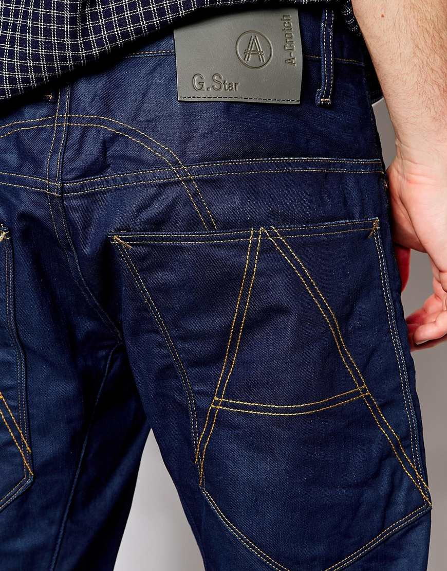 lyst g star raw g star jeans a crotch regular tapered 3d raw in blue for men. Black Bedroom Furniture Sets. Home Design Ideas